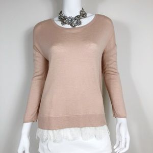 H1-18: Joie Blush 3/4Sleeve Lace Lined Sweater Sm